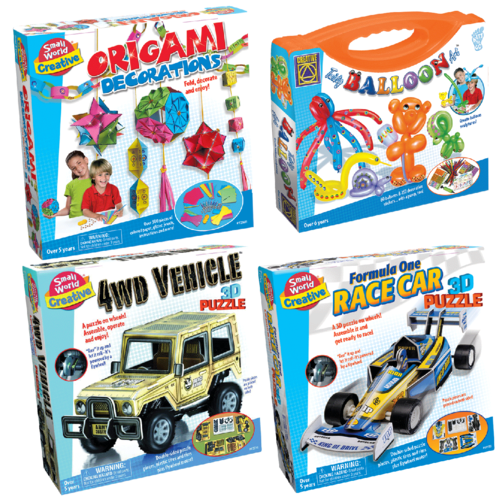 SMALL WORLD CREATIVE PACK - ORIGAMI & TWISTY BALLOON ART & 3D PUZZLES RACING CAR AND 4 WD