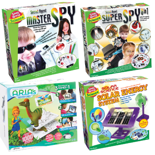 SECRET AGENT MASTER AND SUPER SPY & ARIAS ADVENTURES & BUILD YOUR OWN SOLAR ENERGY SYSTEM - SMALL WORLD SCIENCE PACK